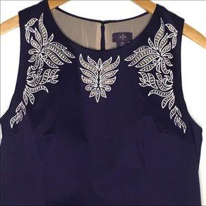NYDJ Karla Slimming Sheath Blue White Dress 10